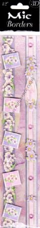 "3D Pink or Lilac Flower & Butterfly 12"" Border Sticker"